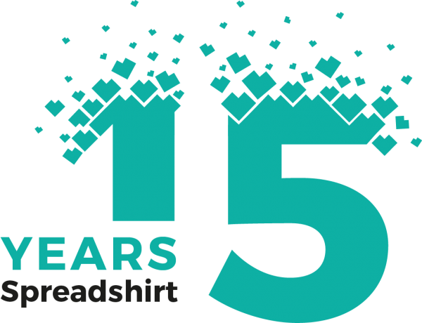 Anniversary logo 15 years Spreadshirt t-shirt printing
