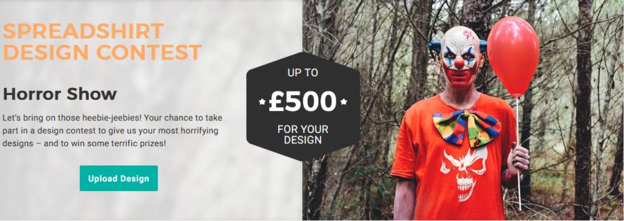 "Screen shot Spreadshirt design contest ""horror"""