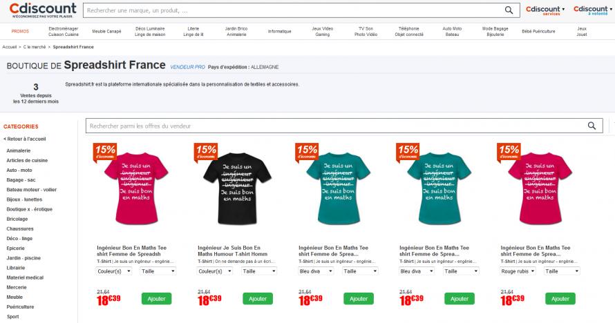 Screenshot Spreadshirt on Cdiscount French external marketplace